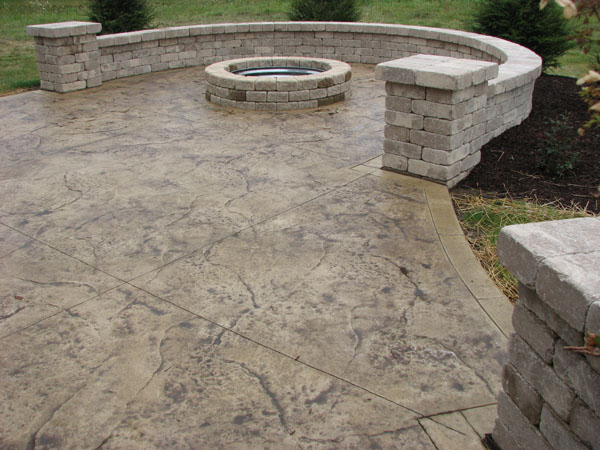 Bon Stamped Concrete Patio With Firepit
