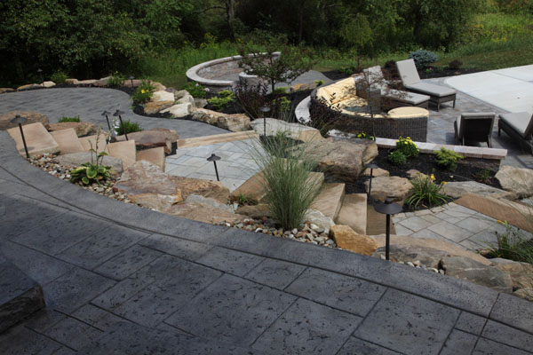 Hillside Tiered Multi Level Concrete Patios
