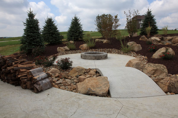 ... Rustic Stamped Concrete Firepit Patio
