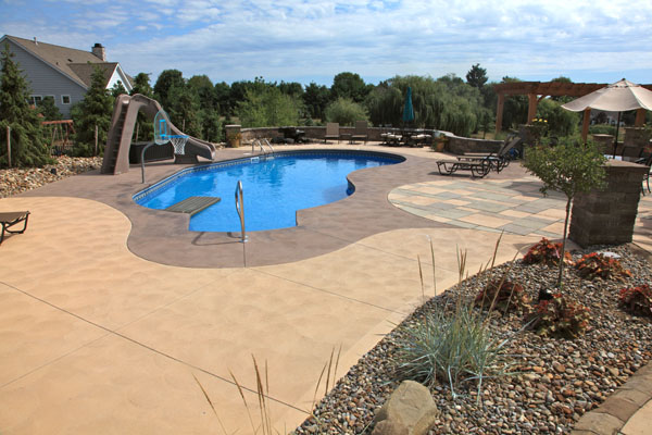 B t klein s landscaping hardscapes concrete concepts for Inground pool coping paint