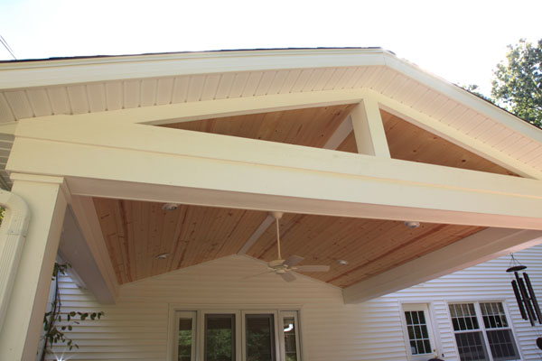 Azek Wrapped Gable Roof with Tongue and Groove Pine Ceiling