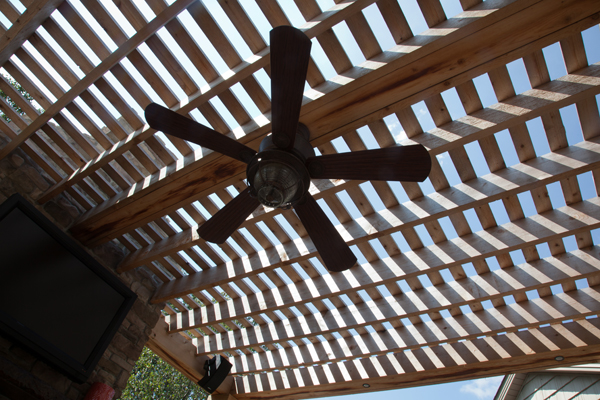 Crossbeam Pergola with Outdoor Ceiling Fan