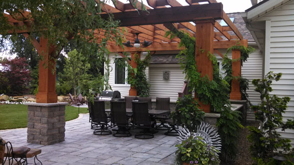 Stained Rough Cut Cedar Pergola
