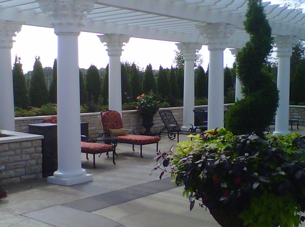 White Pergola with Large Greek Columns