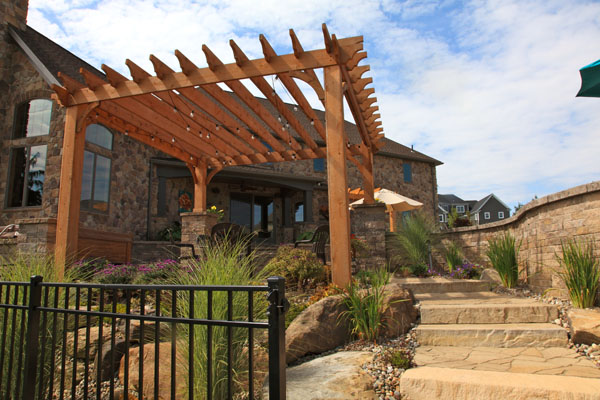 Cedar Pergola with Outdoor Lighting