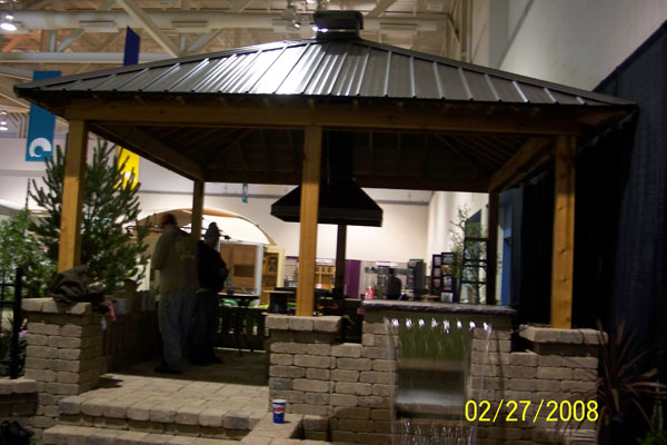 Metal Roof Pavilon Pergola Over Outdoor Kitchen - B.T Klein's Landscaping Hardscapes Creative Carpentry