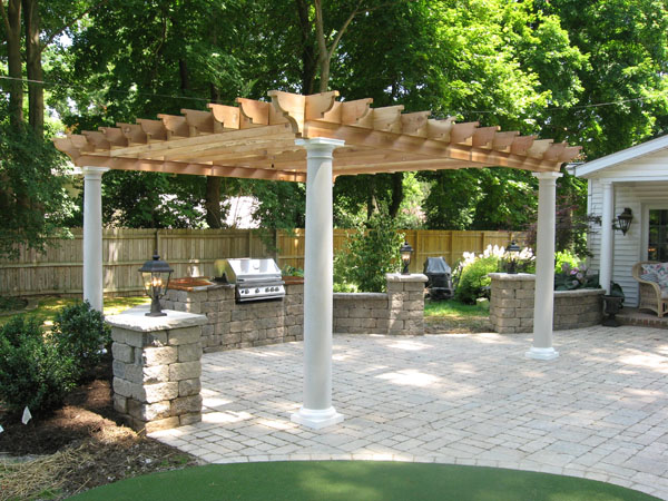 Pergola With Round Posts - B.T Klein's Landscaping Hardscapes Creative Carpentry