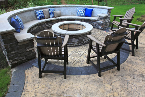 Stone Seating Bench Around Firepit