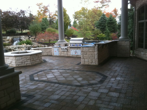 ... Covered Outdoor Kitchen And Gas Firepit