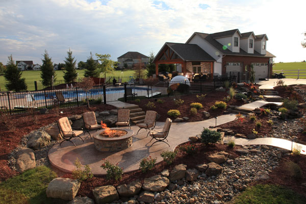 Stamped Concrete Firepit Patio and Walkways