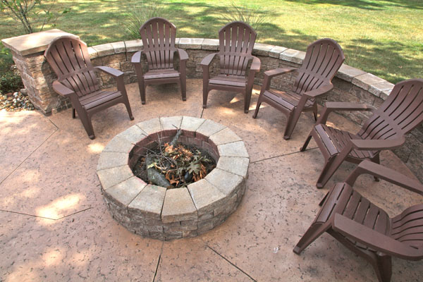 Concrete Patio Firepit With Matching Seatwall Concrete Patio Firepit With  Matching Seatwall