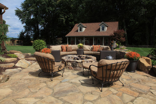 Custom Stone Firepit on Flagstone Patio