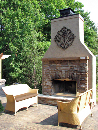 stucco fireplaces. Custom Designed Stucco Fireplace Klein s Lawn  Landscaping Hardscapes Fireplaces
