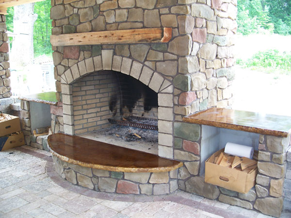 Gas fireplace stone hearth fireplaces for Concrete mantels and hearths