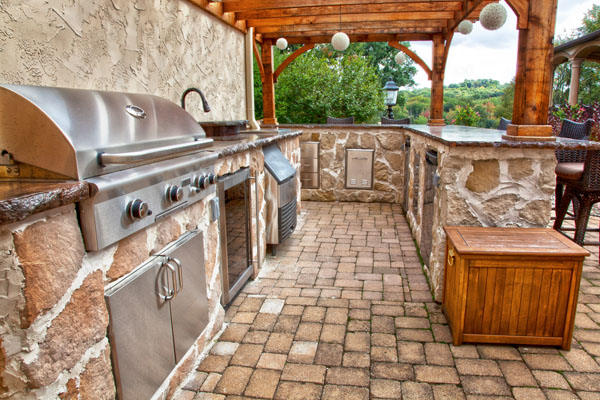 Medium image of country french style outdoor kitchen with stainless steel appliances