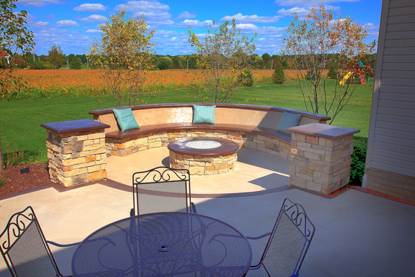 ... Custom Built In Seatbench On Colored Concrete Patio