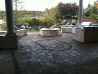 Paver Rug Inlay in Outdoor Room