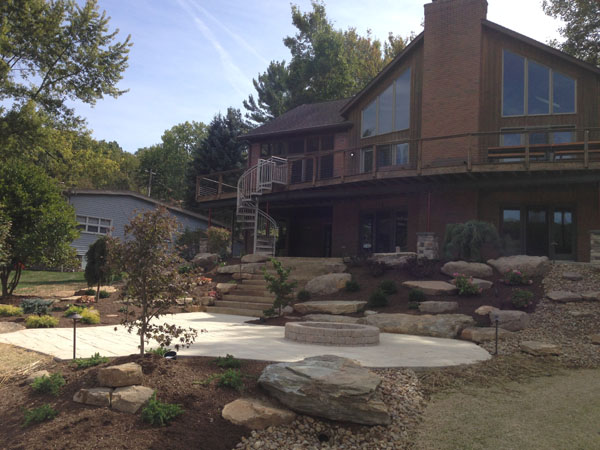 Hillside Tiered Patios and Rock Croppings