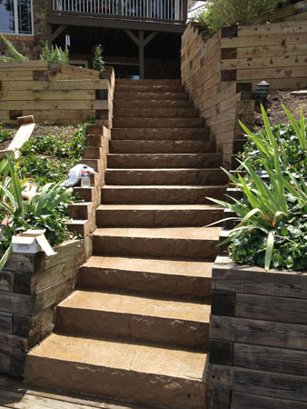 ... Hillside Concrete Stairs To Lake Front