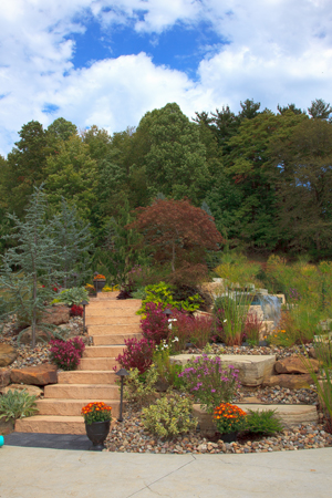 Hillside Steps and Colorful Landscaping Design