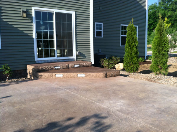... Lighted Stamped Concrete Steps