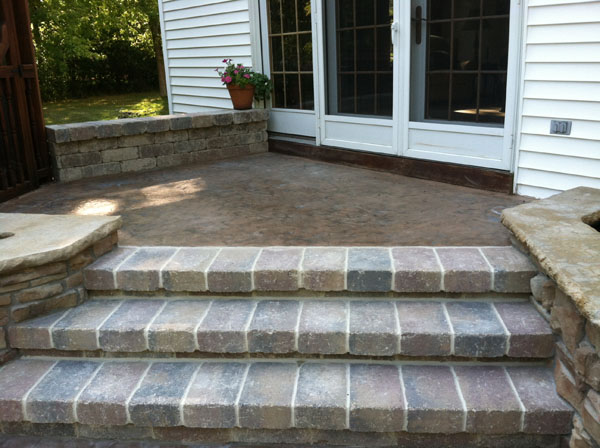 ... Mortared Brussel Patio Steps With Concrete Landing