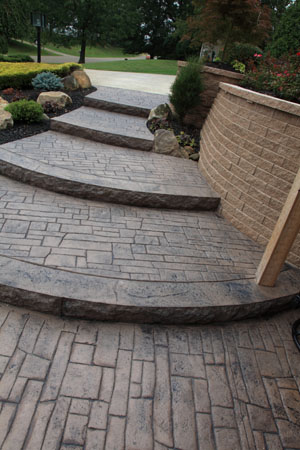 Cascading Stamped Concrete Steps