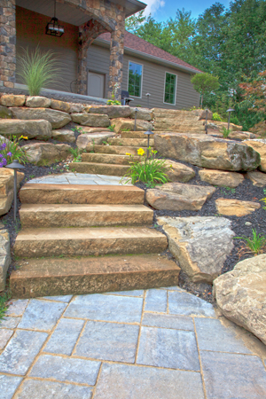 Rock Cropping Hillside Steps