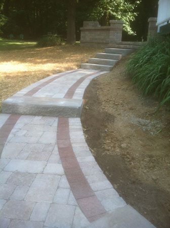 Pavers Walkway to Raised Patio