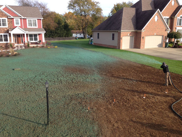 New Home Construction Hydro Seed Lawn Install