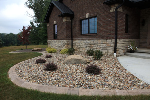 Decorative Gravel Around Window Well Front River Gravel Landscaping Bed  Front River Gravel Landscaping Bed