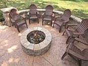 Concrete Patio Firepit with Matching Seatwall
