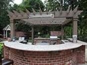 Outdoor Kitchen with Curved Seating Bar