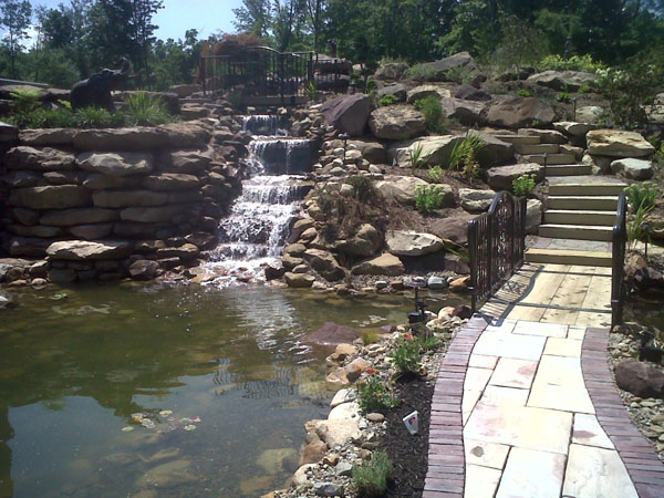B t klein s landscaping water features pond waterfalls for Large koi pond