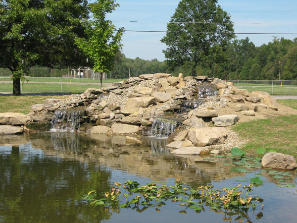 B t klein s landscaping water features pond waterfalls for Large pond waterfall