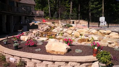 Existing Pond Turned into Pondless Waterfeature